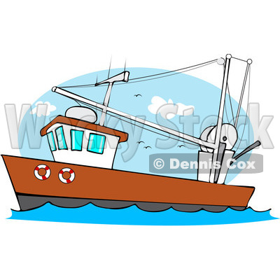 400x400 Free (Rf) Clipart Illustration Of A Trawler Fishing Boat At Sea