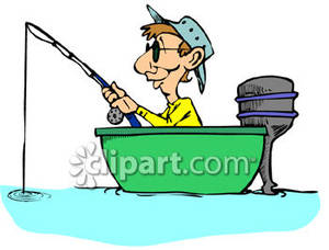 300x228 Man Sitting In A Small Boat, Fishing Royalty Free Clipart Picture
