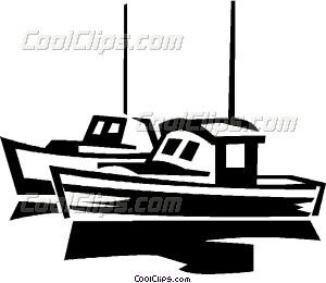 300x260 Fishing Boats Vector Clip Art