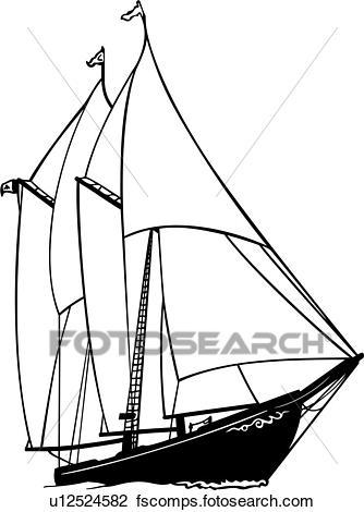 334x470 Clipart Of , Boat, Fishing, Ocean, Sailboat, Sailing, Schooner