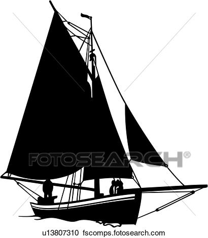410x470 Clipart Of , Boat, Fishing, Sailboat, Sailing, Sport, Vessel, Ship