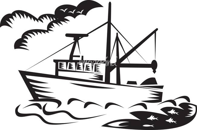 650x430 Commercial Fishing Boat Ship Sea Woodcut By Aloysius Patrimonio