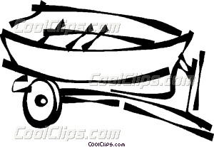 300x207 Fishing Boat On A Trailer Vector Clip Art