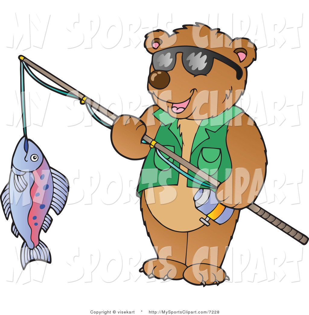 1024x1044 Sports Clip Art Of A Bear Holding A Fish On A Fishing Pole By