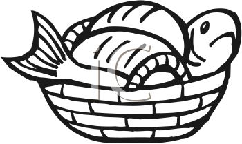 350x209 Royalty Free Clipart Image Black And White Cartoon Fish In A Basket