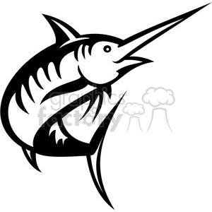 300x300 Royalty Free Black And White Swordfish Facing Left 388454 Vector