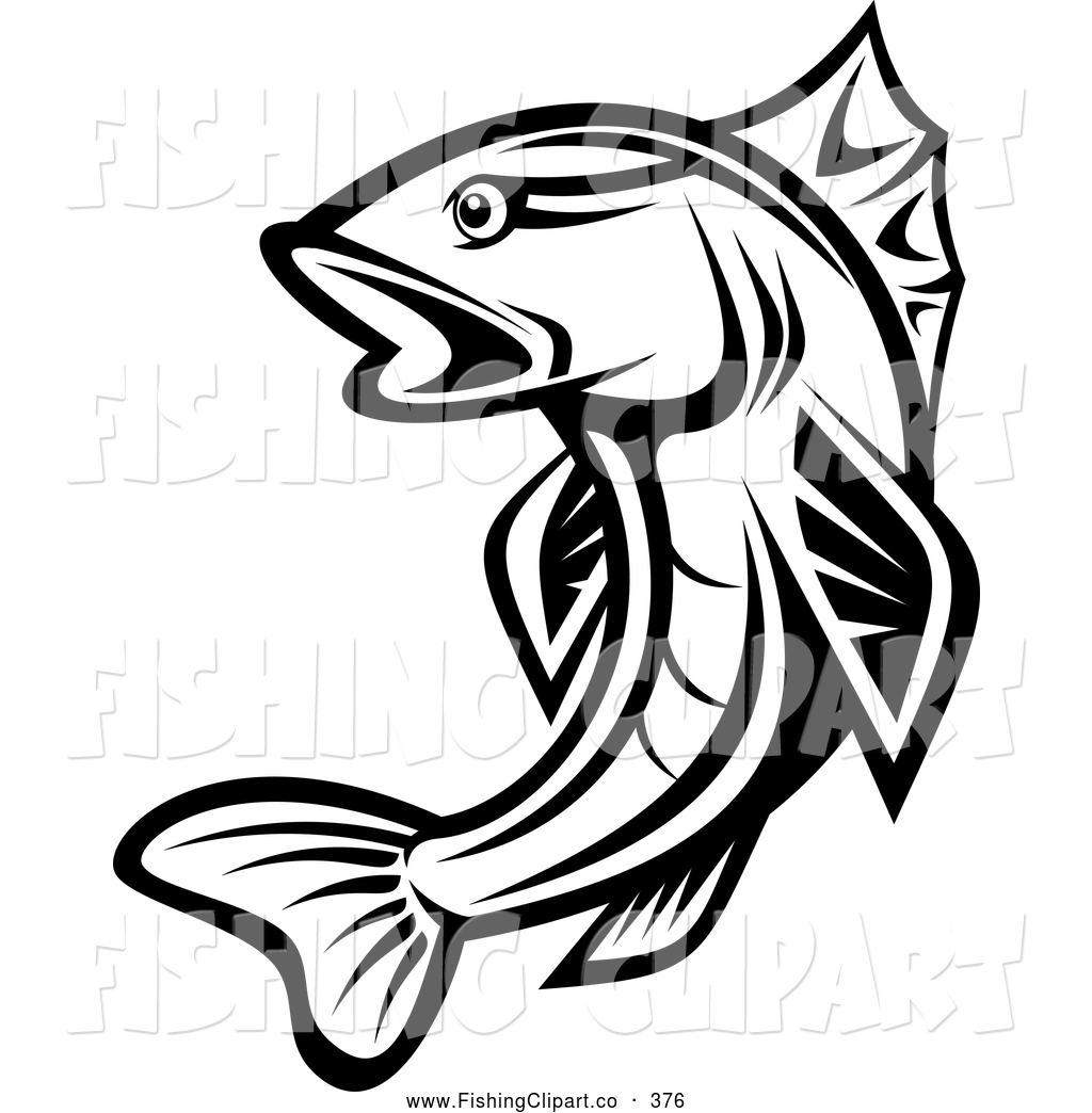 1024x1044 Clip Art Of A Leaping Black And White Trout By Vector Tradition Sm
