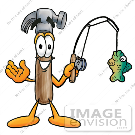 450x450 Clip Art Graphic Of A Hammer Tool Cartoon Character Holding A Fish