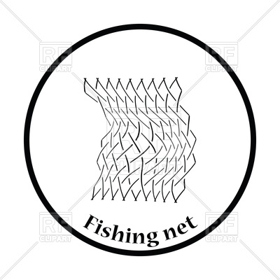 400x400 Thin Design Icon Of Fishing Net Royalty Free Vector Clip Art Image