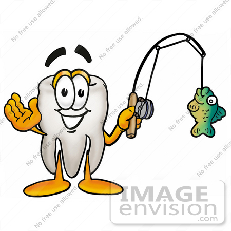 450x450 Clip Art Graphic Of A Human Molar Tooth Character Holding A Fish