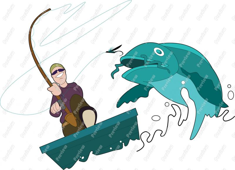 800x580 Man Fishing Character Clip Art