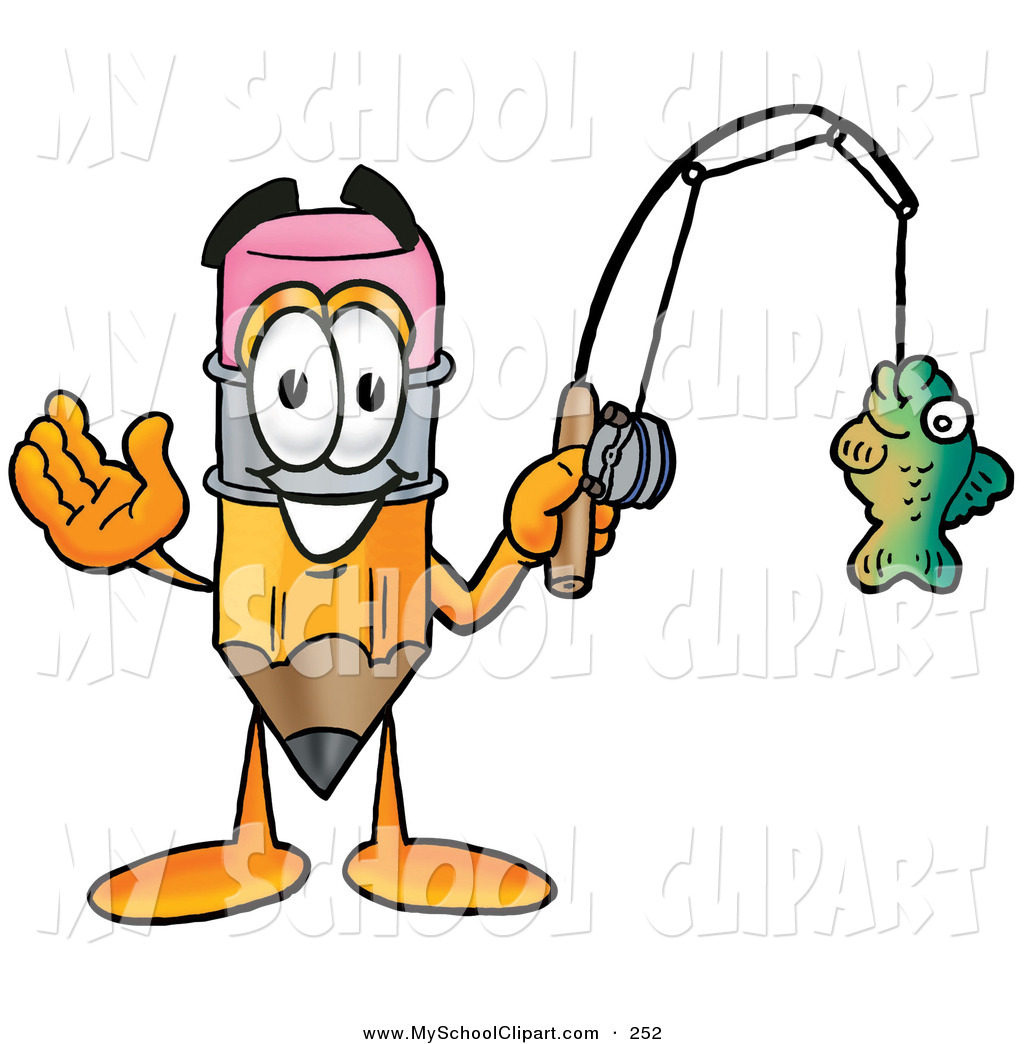 1024x1044 Clip Art Of A Cute Pencil Mascot Cartoon Character Holding A Fish