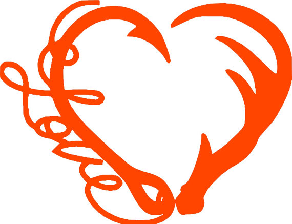570x437 Love Fishing And Deer Hunting Heart Hook And Antler Heart