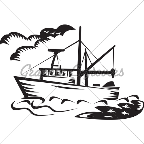 500x500 Fishing Boat Clipart Line Drawing
