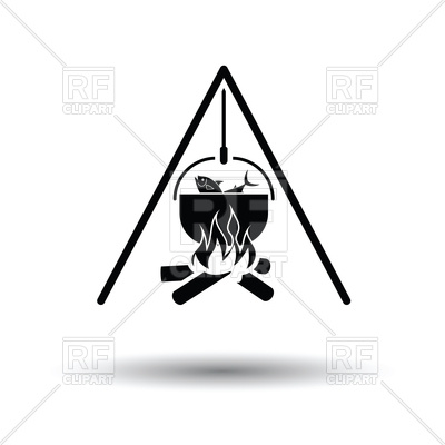 400x400 Icon Of Fire And Fishing Pot With Shadow Royalty Free Vector Clip