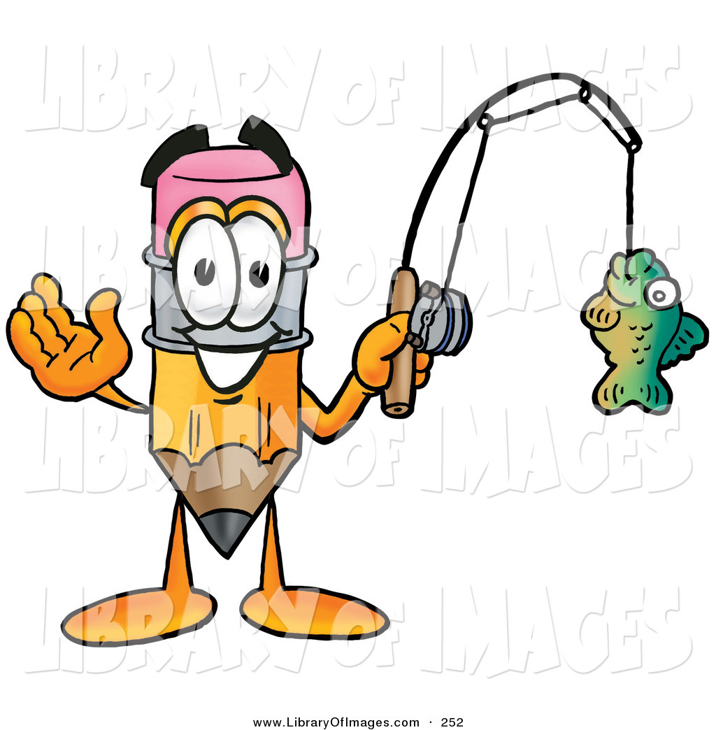 1024x1044 Clip Art Of A Happy Pencil Mascot Cartoon Character Holding A Fish