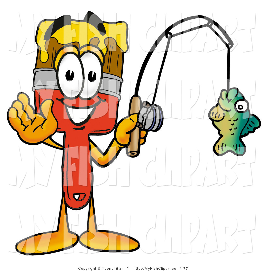 1024x1044 Clip Art Of A Paint Brush Mascot Cartoon Character Holding A Fish