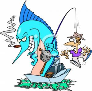 300x296 Cartoon Clipart Picture Of A Fish Catching A Man