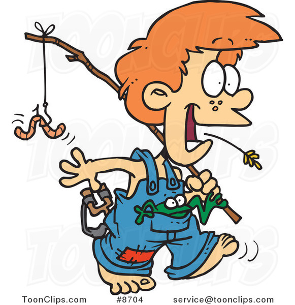 581x600 Cartoon Country Boy Carrying A Fishing Pole