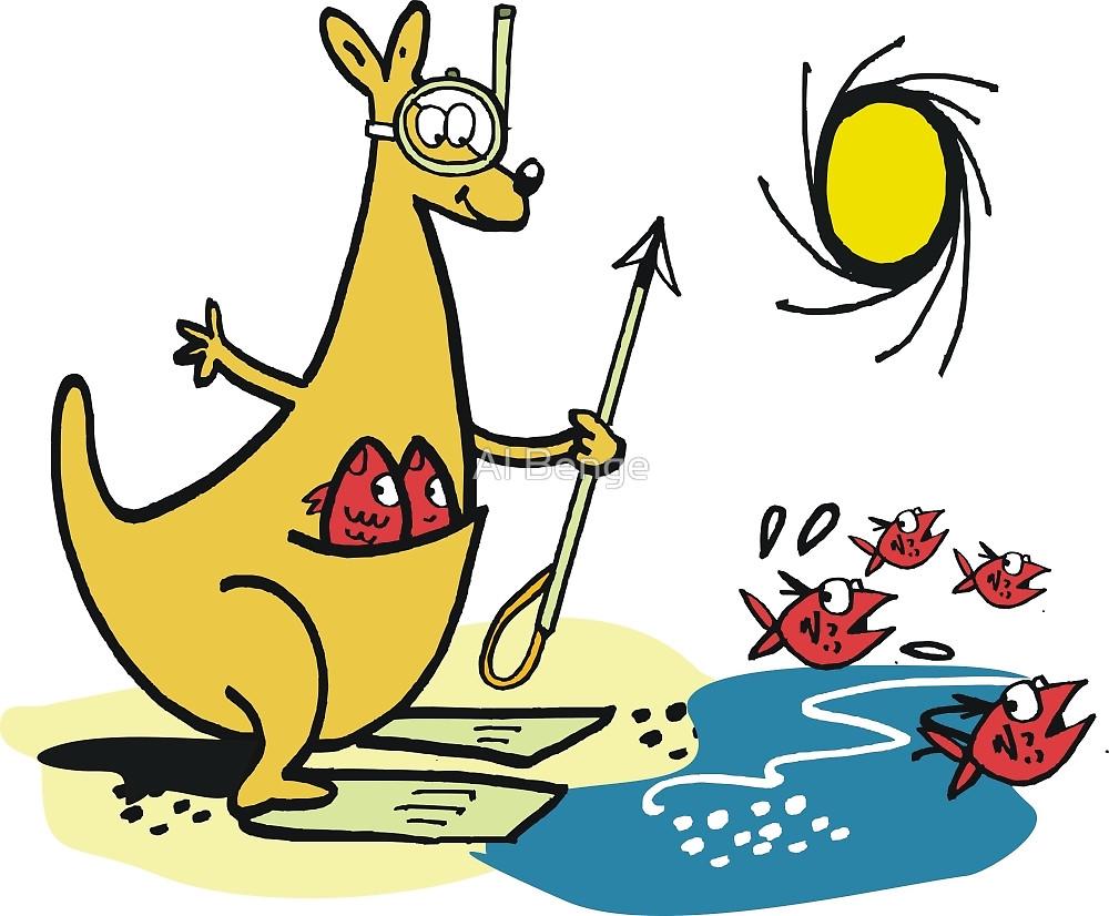1000x826 Cartoon Kangaroo Fishing With Harpoon
