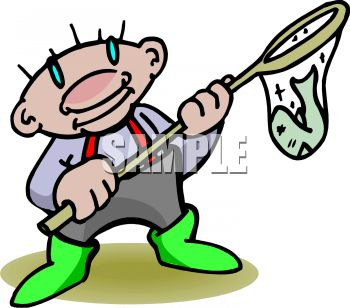 350x308 Cartoon Of A Man With A Fish In A Net