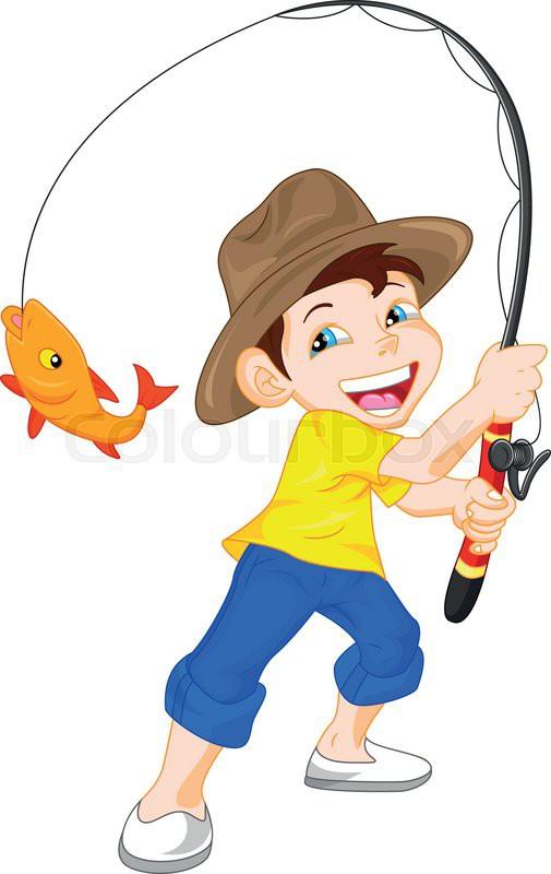505x800 Cute Boy Fishing Cartoon Stock Vector Colourbox