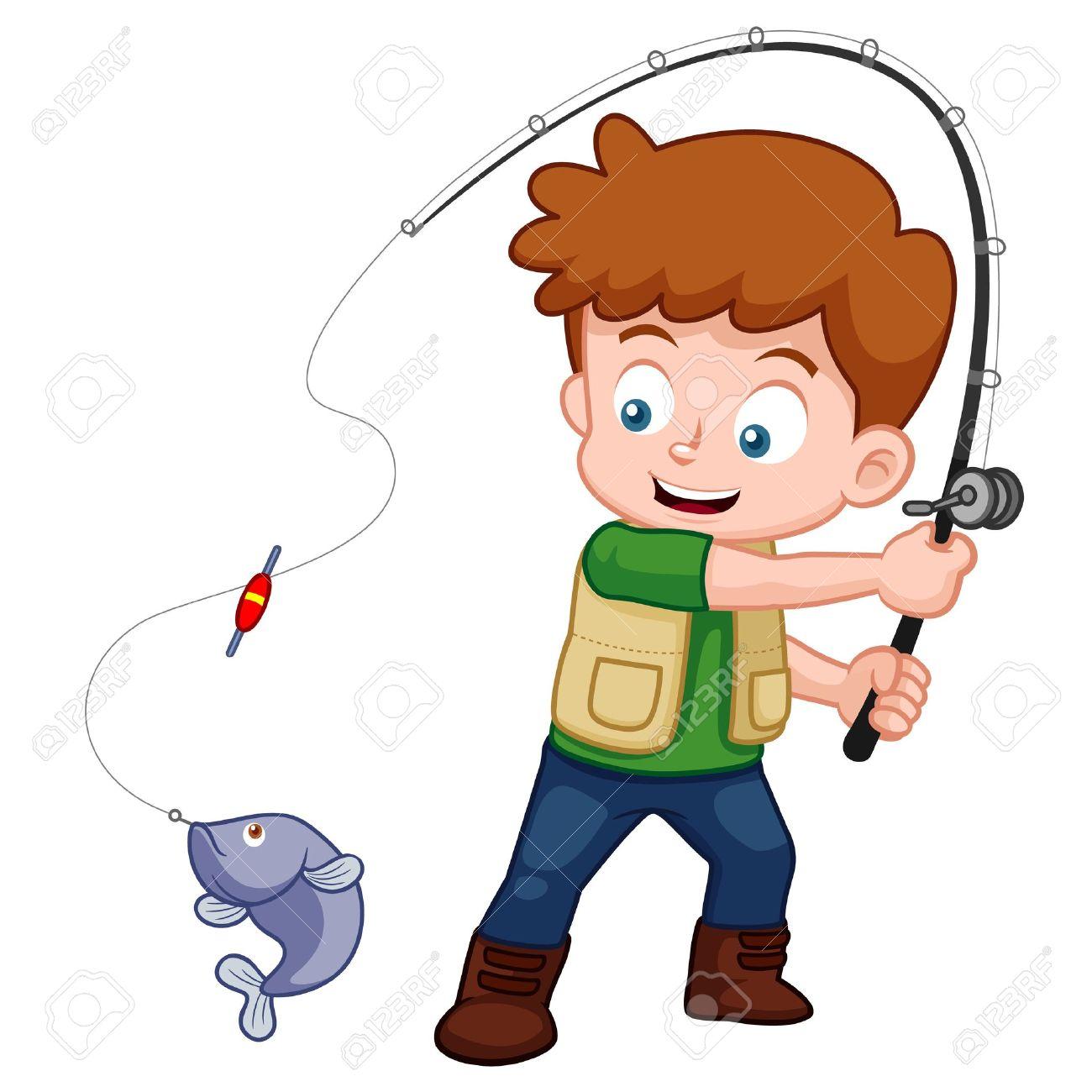 1300x1300 Illustration Of Cartoon Boy Fishing Royalty Free Cliparts, Vectors