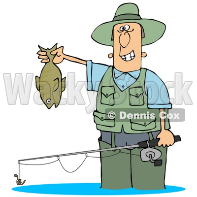 400x400 Illustration Of A Man Wading In Water And Holding His Fishing Rod