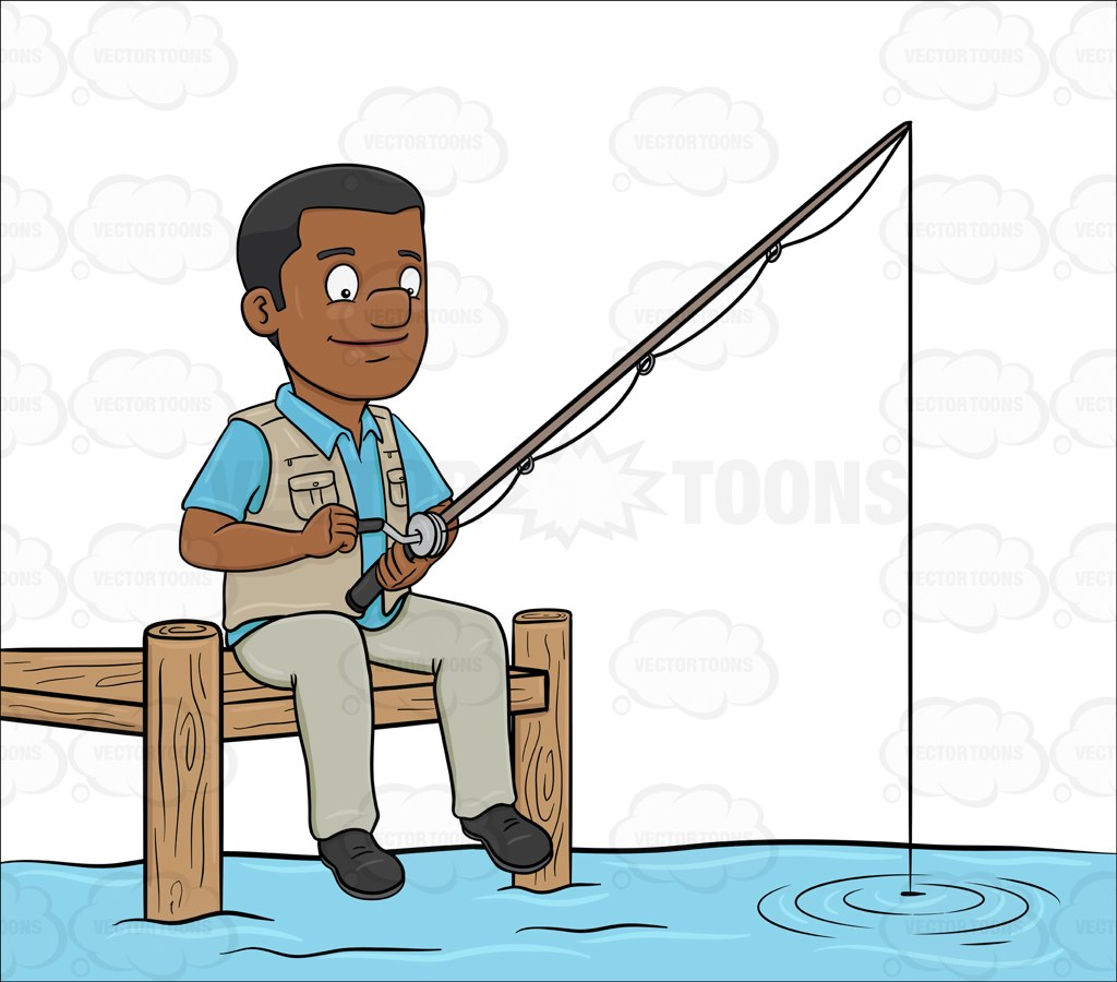1024x900 A Black Man Patiently Waiting To Catch A Fish Cartoon Clipart