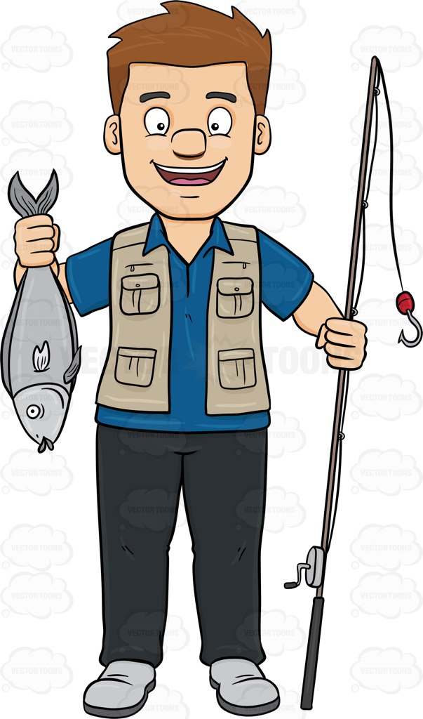 603x1024 A Happy Man Shows Off A Fish He Has Caught With A Rod Cartoon