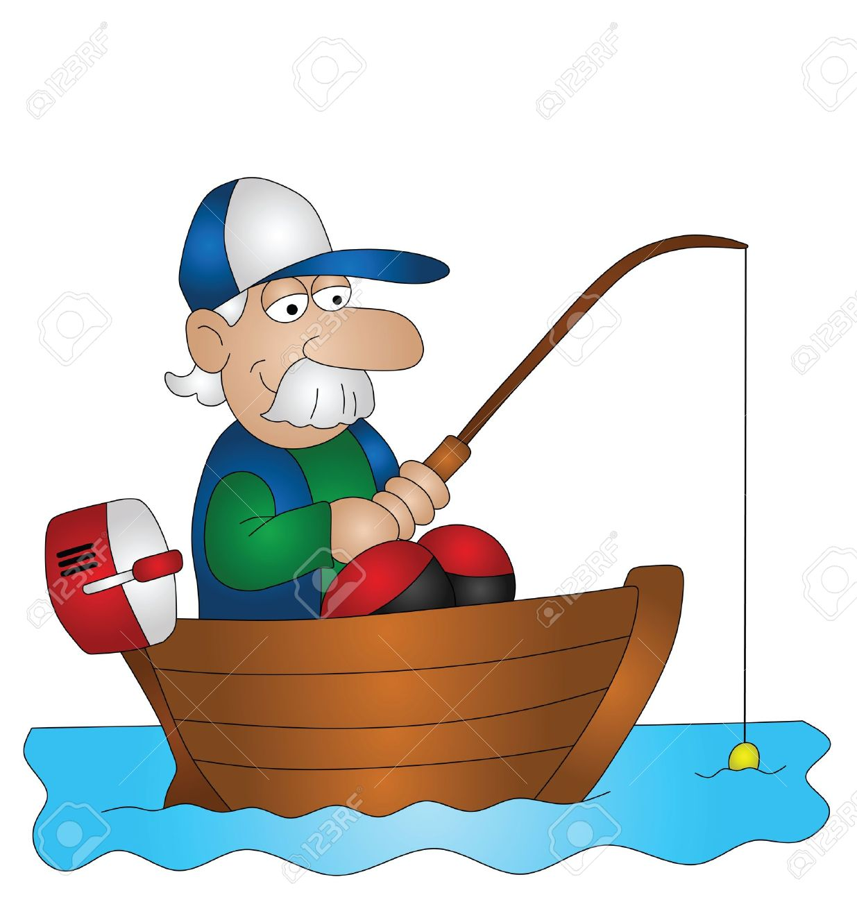 1235x1300 Cartoon Angler Fishing From Boat Isolated On White Background