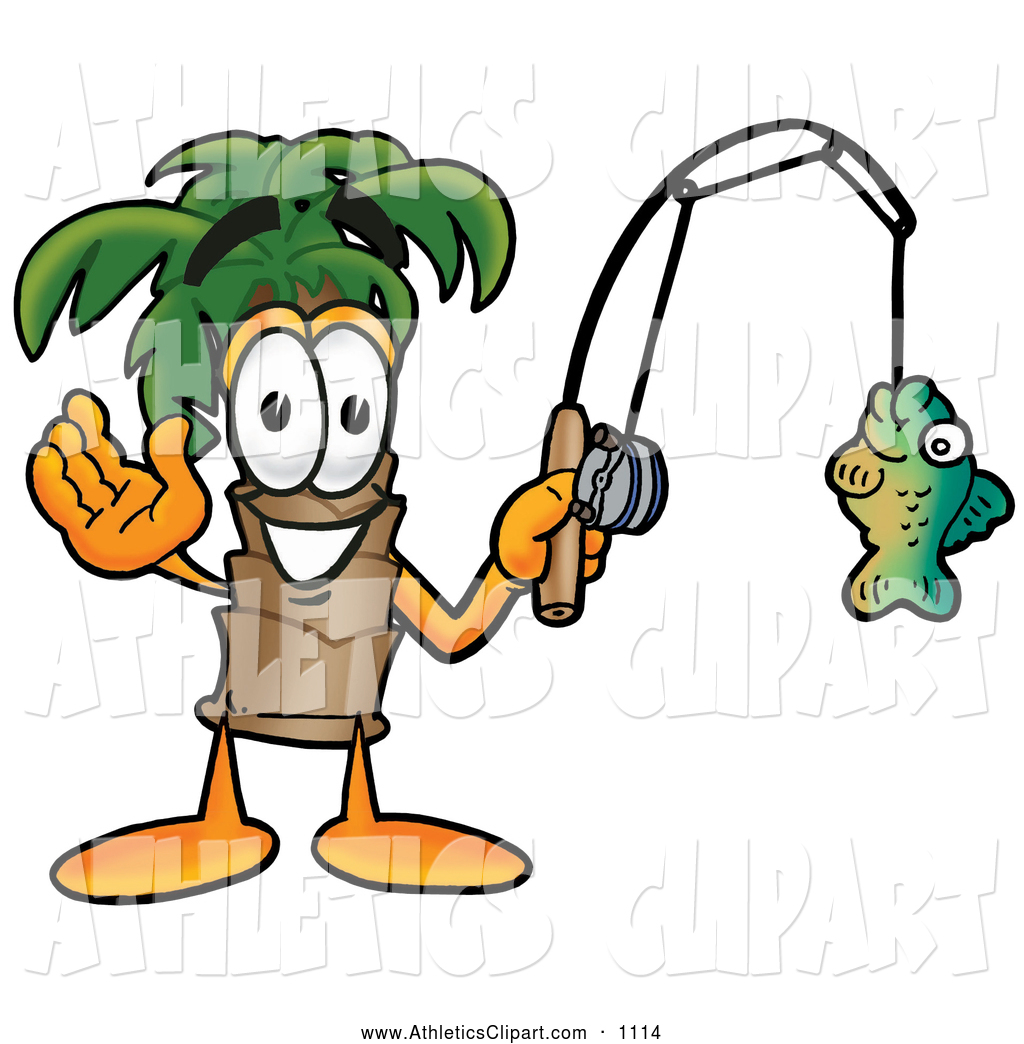 1024x1044 Clip Art Of A Palm Tree Mascot Cartoon Character Holding A Caught