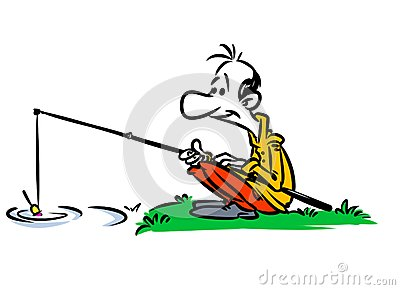 400x290 Fisherman River Fishing Rod Cartoon Illustration W