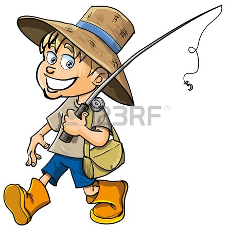 445x450 Cartoon Fisherman With A Fishing Rod. Isolated Royalty Free
