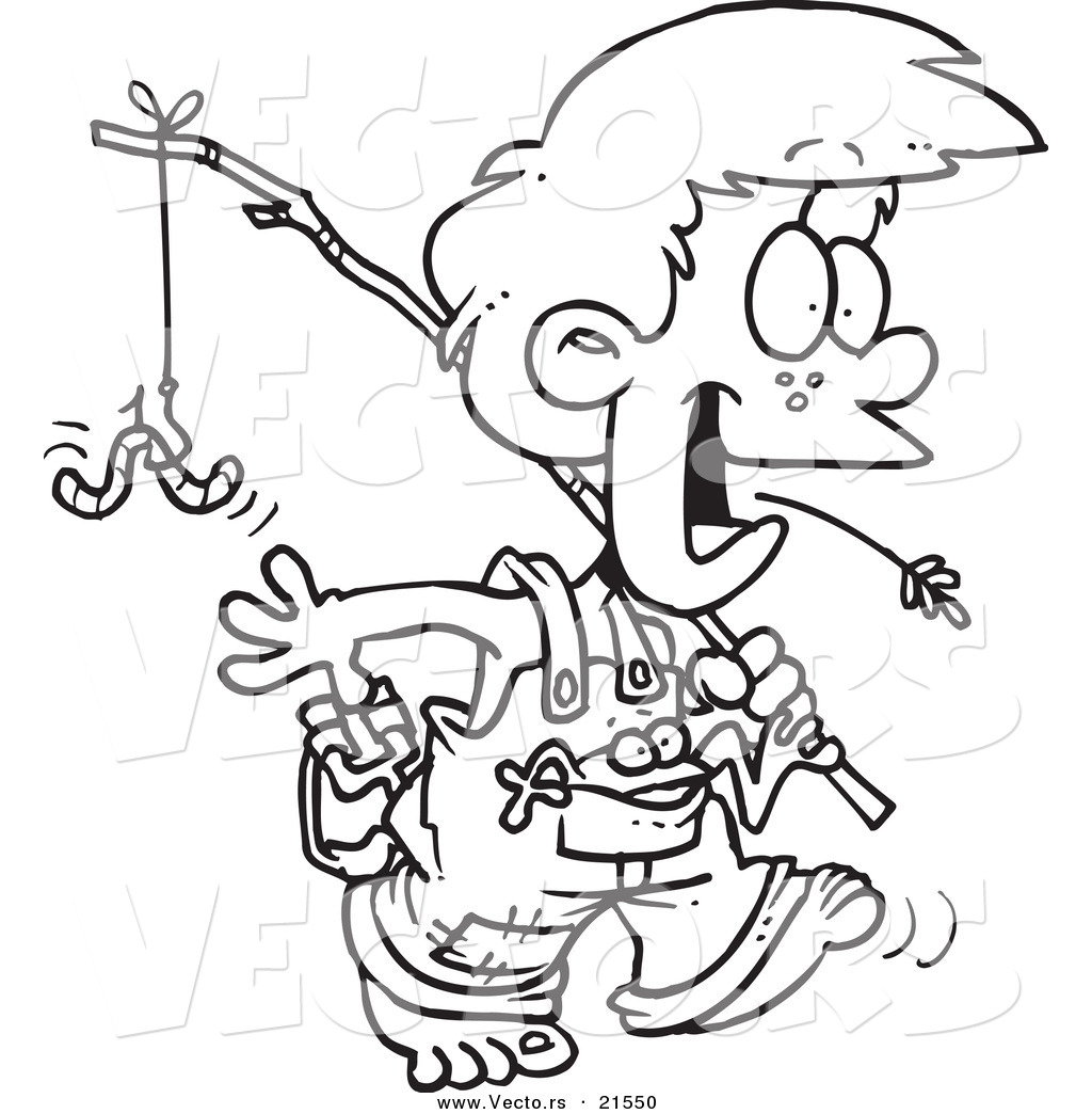 1024x1044 Vector Of A Cartoon Country Boy Carrying A Fishing Pole