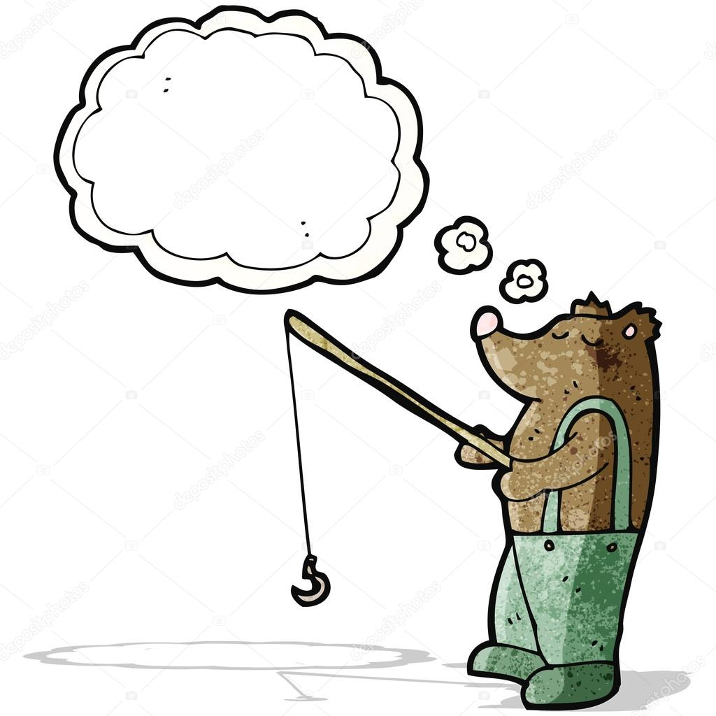 1024x1024 Cartoon Bear With Fishing Rod Stock Vector Lineartestpilot