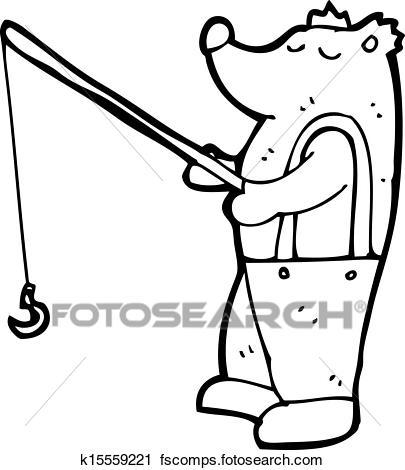 405x470 Clipart Of Cartoon Bear With Fishing Rod K15559221