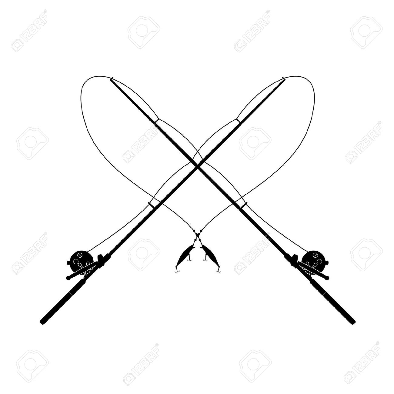 1300x1300 Fishing Rod Clipart Black And White