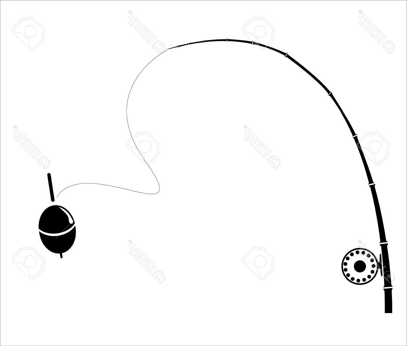 1300x1105 Unique Fishing Rod On The White Backdrop Stock Vector Fly Cdr