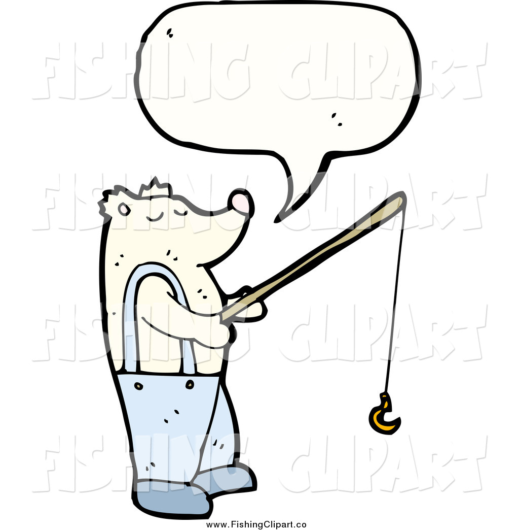 1024x1044 Clip Art Of A Talking Polar Bear Holding A Fishing Pole By