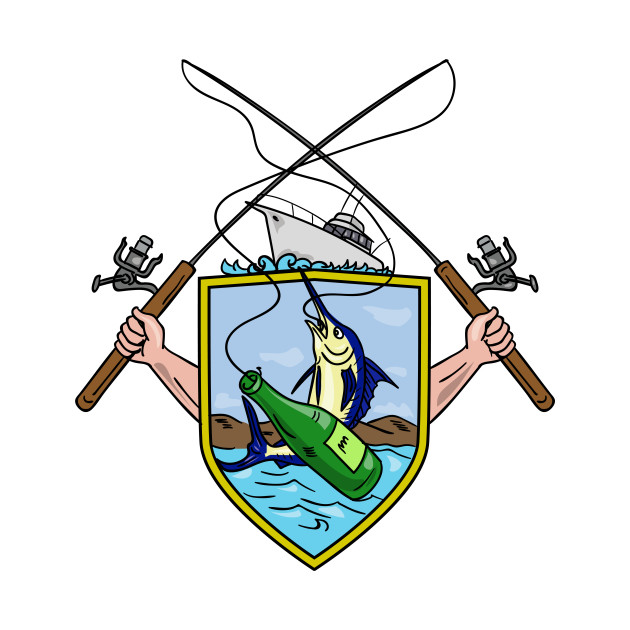 630x630 Fishing Rod Reel Blue Marlin Beer Bottle Coat Of Arms Drawing