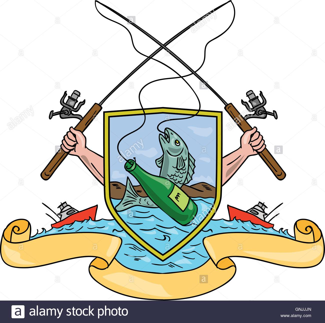 1300x1294 Fishing Rod Reel Hooking Fish Beer Bottle Coat Of Arms Drawing
