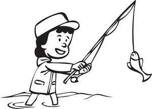 300x215 Illustration Of A Man With Fishing Pole. Royalty Free Stock Image