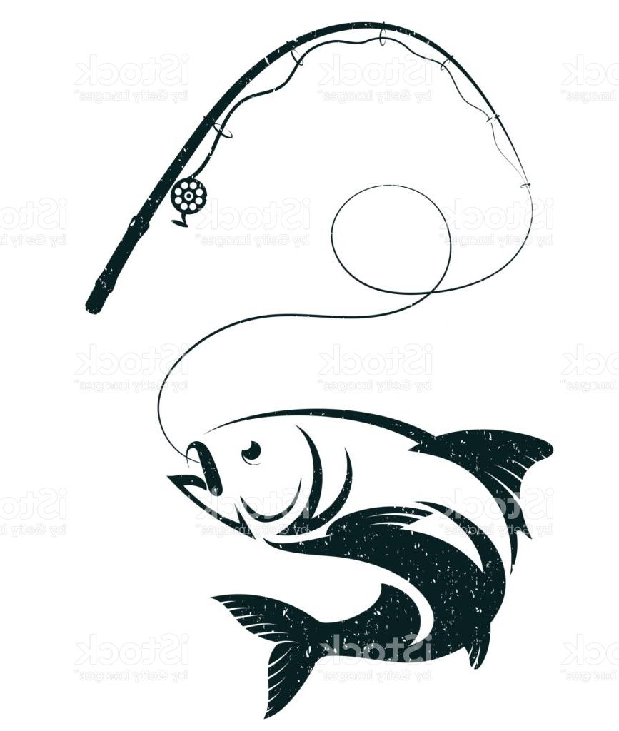 867x1024 Best Free Fish On The Hook And Fishing Rod Vector Design