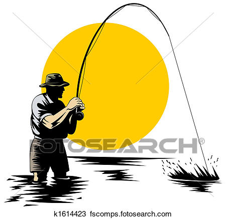 450x437 Drawing Of Fly Fishing K1614423