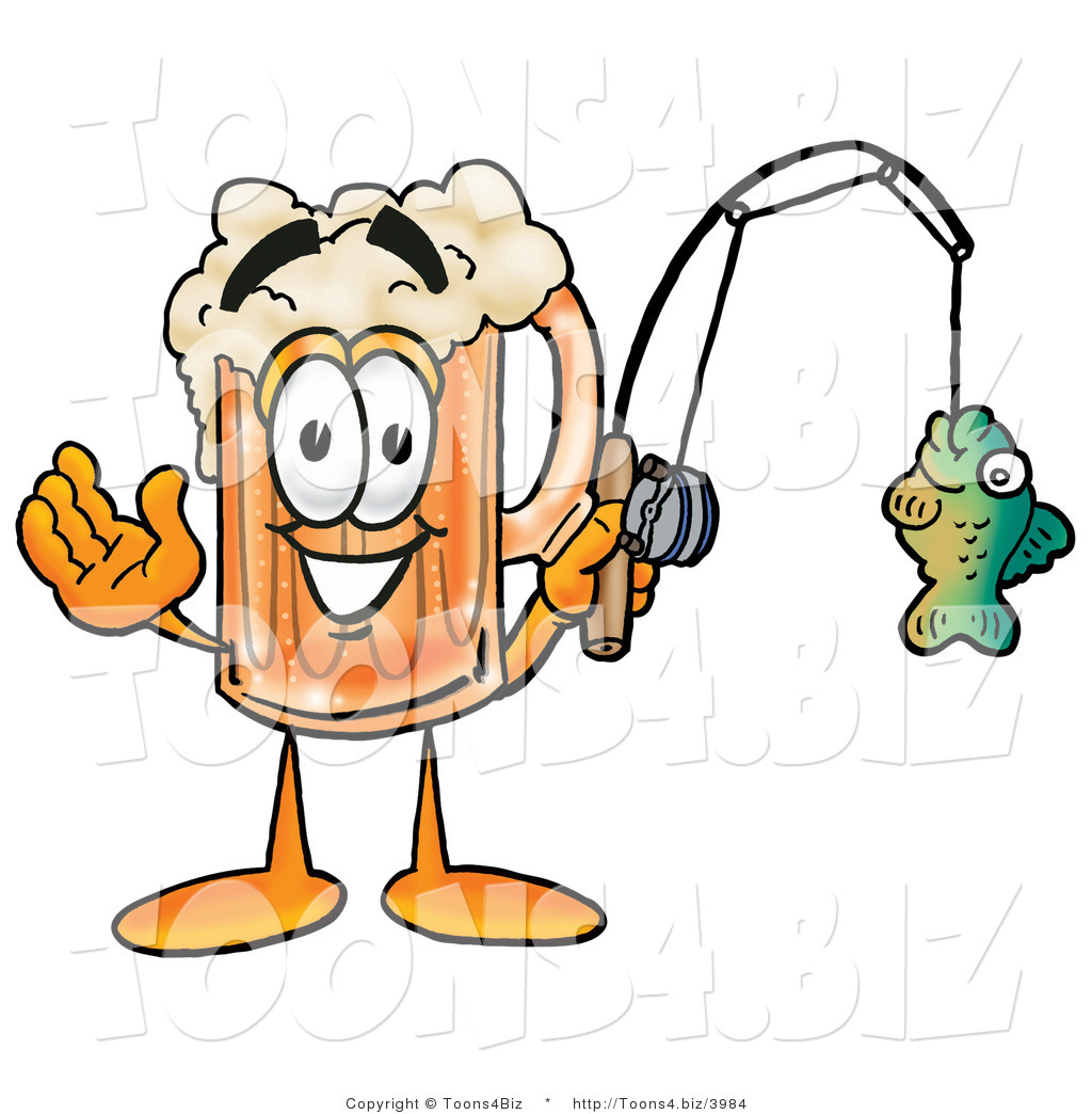1024x1044 Illustration Of A Beer Mug Mascot Holding A Fish On A Fishing Pole