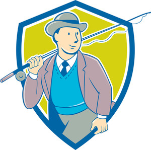 300x298 Illustration Of A Fly Fisherman Casting Fly Fishing Rod Viewed