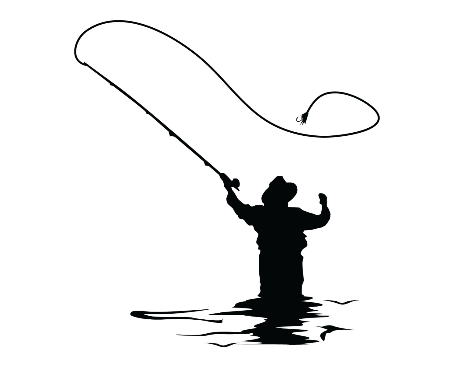 1500x1200 Man Fishing With Pole Redfish Clipart Collection