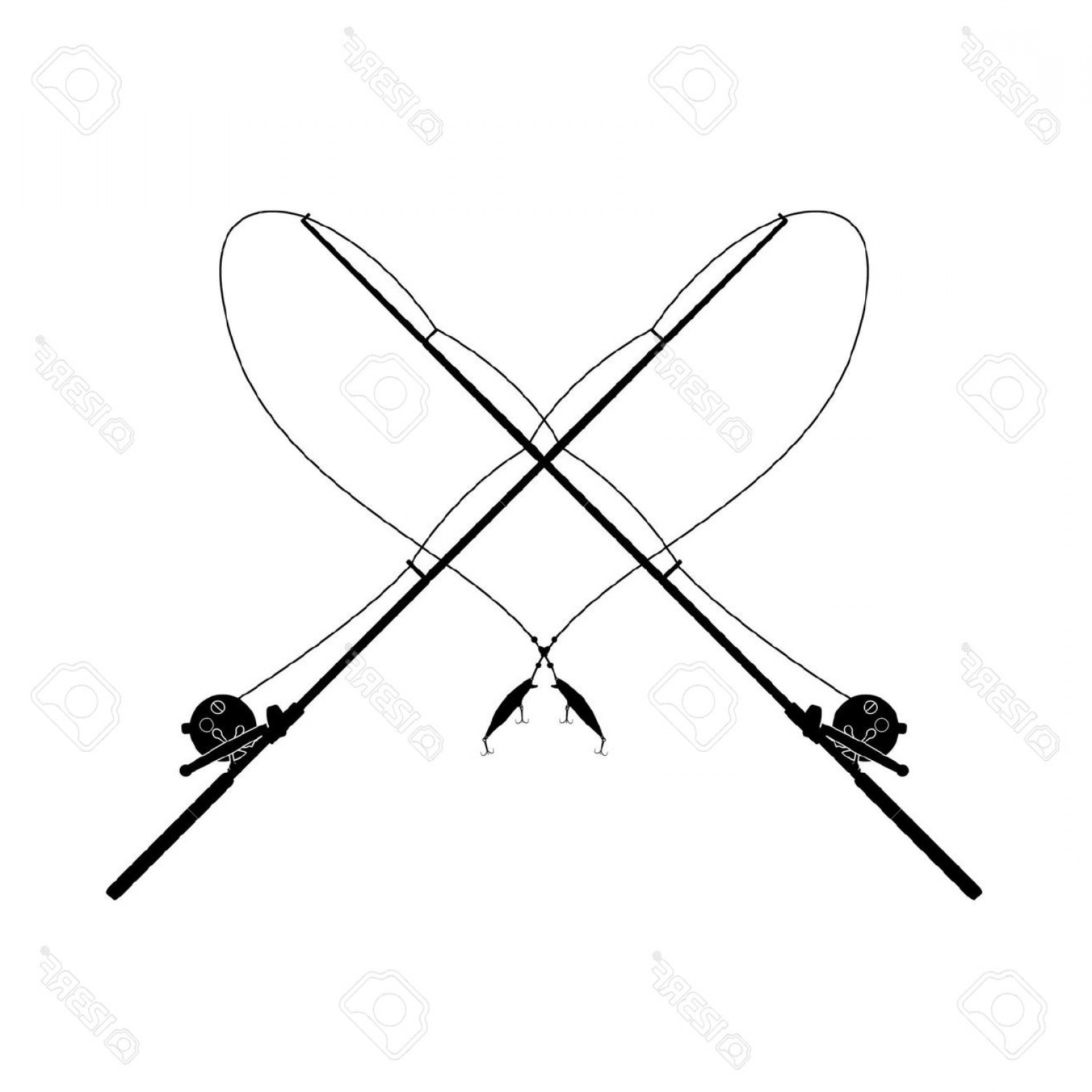 1560x1560 Fishing Rod Clipart Crossed