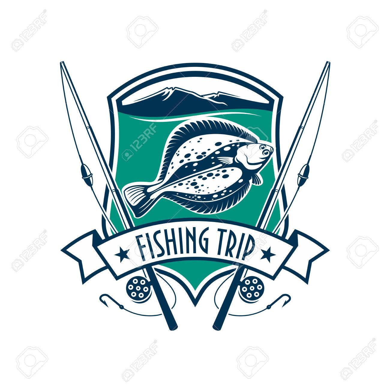 1300x1300 Fishing Emblem With Icons Of Fish, Fishing Rod. Sign For Fisherman